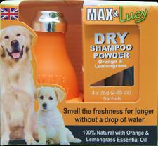 MAX & Lucy Dry Shampoo Per Cani-Arancione & CITRONELLA LAMPADINA 4 x 75 G bustine SENZA ACQUA