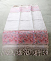 VINTAGE! Damask Linen & Peony Pattern Pulled Work & Fringed Edge Table Runner