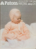 "Patons 7169 Knitting Pattern Baby Coat Bonnet Mittens 18-20"" Brushed DK Vintage"