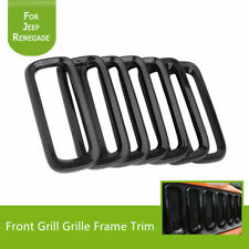 For Jeep Renegade 15-17 Carbon Fiber Front Grille Inserts Frame Trim Bezel Black