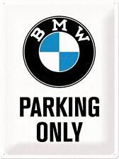 BMW PARCHEGGIO SOLO Grande In Metallo Muro Segno. con licenza 400 mm x 300 mm (NA)