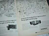 1968 Ampex Tape Player Recorder Reel To Reel Stereo 2 Page Vintage Print Ad