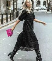 BNWT ZARA BLACK VOLUMINOUS CONTRAST EMBROIDERED DRESS SIZE L