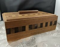 Vintage Handmade Wooden Box with Matching Lid - Trinket - Catch-All - Decorative