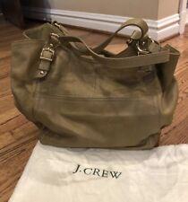 J. Crew Leather Olive Green Large Multi Compartment Shoulder Tote Bag