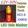 1pcs Red Amber  LED Side Marker Tail Light Caravan Trailer Truck Lamp Ute Camper