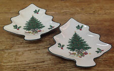 Mikasa Christmas Story Tree Shaped Figural 2 Small Dishes Heritage CAB08 Holly