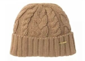 Michael Kors Pointelle Cable Cuff Beanie Hat with Logo, Camel, One Size BNWT