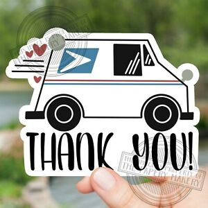 Mail Box Thank You Courier Mail Man Woman Waterproof Sticker Vinyl Car Decal