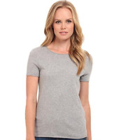 THREE DOTS Short Sleeve Round Neck Solid Cotton Tee Shirt Grey Top XS $48 B3