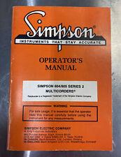 Simpson Operator's Manual for Multicorder Model 604