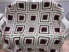 Vintage Handmade Crochet Blanket Afghan Granny Square 3D Rose 52X86 Couch