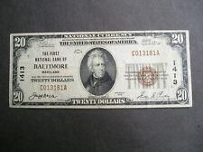 Series 1929 $20.00 The First National Bank of Baltimore MD