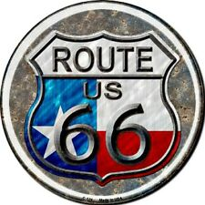 "Route 66 Texas Flag 12"" Round Metal Sign Novelty Retro Man Cave Home Wall Decor"