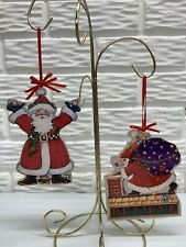Mary Engelbreit Vintage Santa Particle Board Christmas Ornaments Set of 2