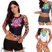 Women's Long Sleeve UV Sun Protection UPF 50+ Rash Guard Top 2 Piece Swimsuit