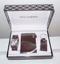 NEW Concepts Executive Gift Set: Quartz Watch, Card Holder & Key Chain Brown