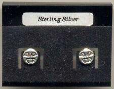 Moon Face Sterling Silver 925 Studs Earrings Carded