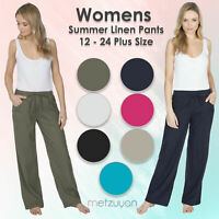 Metzuyan Womens Linen Trousers Wide Leg Fit Summer Pants Pockets 16-24 Plus Size