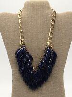 Vintage Gold Tone Blue Faceted Plastic Bead Multi Strand Bib Statement Necklace