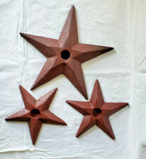 New ListingNew Park Design Rustic Primitive Red Metal Barn Star Wall Candle Holders 3 pc