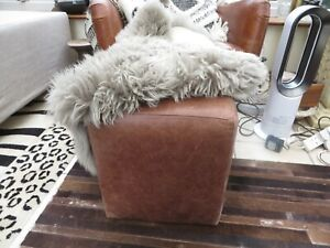 Habitat vintage distressed real brown leather footstool/cube seat heavy quality
