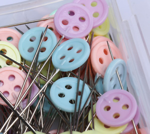 50 x Long Straight Pins mixed Colour Faux button Hemming Dressmaking Sewing