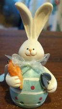 """Cottondale Resin Blue Egg Bunny Decorative Easter Holiday Figure 3.9""""H"""
