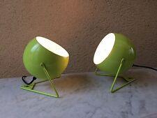 PAIRE DE LAMPE APPLIQUE EYEBALL DESIGN MODERNE STYLE VINTAGE TOLE LAQUEE VERTE