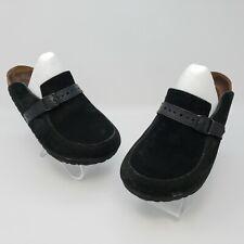 Birkenstock Womens Black Suede Buckle Slip On Clog Mule Sz EUR 36 US L5 Regular