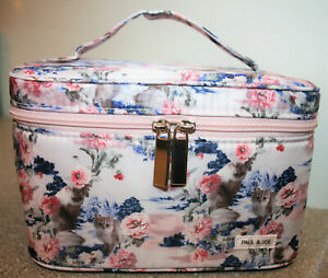 Paul & Joe Sweet Peony Kitty Cat Train Case Cosmetic Makeup Bag Limited Edition