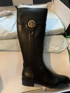 Tommy Hilfiger Womens Imina Leather Closed Toe Knee High, Black, size 8