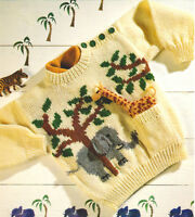 "Baby Childrens Jungle Sweater Giraffe  Elephant 20""- 26""  1-7 yrs DK To Knit"
