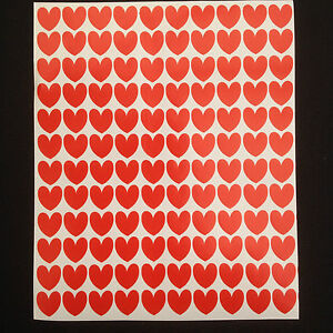 350 x Red Heart Stickers 15 mm Valentine Wedding Scrapbook