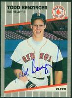 Original Autograph of Todd Benzinger of the Boston Red Sox on a 1989 Fleer Card