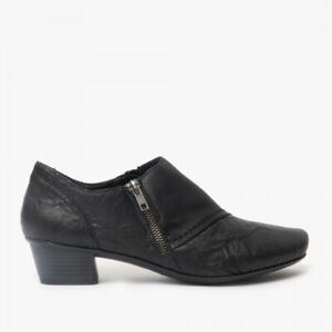 Rieker 53851 Ladies Black Mock Croc Leather Zip up Shoes UK8 EU41