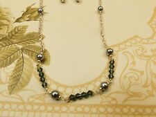 """Black pearl with smoky grey crystals, !8"""" choker style necklace, ear rings set"""