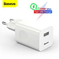 Baseus USB Charger 24W Quick Charge Power Adapter EU Plug for iPhone Samsung