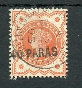 British Levant 1893 10pa on ½d vermillion FU FE25 1893 SG7