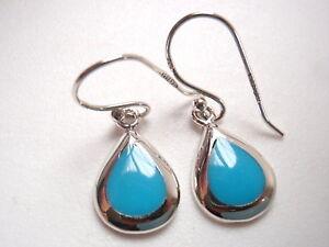 Small Blue Turquoise Teardrop Shaped 925 Sterling Silver Dangle Earrings