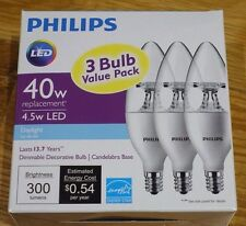 One 3-pack DIMMABLE PHILIPS DAYLIGHT 4.5W (40W) Candelabra LED Light Bulbs. NEW