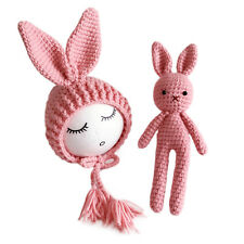 Baby Newborn Crochet Knitted Hat Rabbit Toy Photo Photography Prop Gift