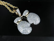Mens Yellow Gold Finish Boxing Gloves Combo Set Pendant Necklace 1""