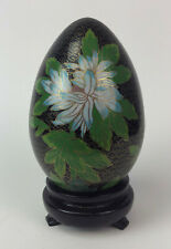 CHINESE CLOISONNE ENAMEL EGG w STAND