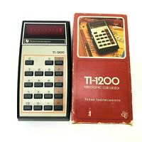 Vintage TI-1200 Calculator Texas Instruments WORKS Made HONG KONG Box VTG Retro