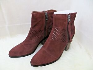 Womens Lucky Brand Booties Ramses Sable Red Oiled Suede 10 NEW