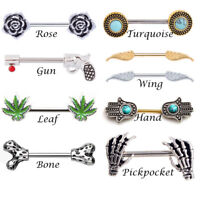 Hot Sexy Nipple Rings Body Piercing Jewelry 361L Surgical Steel Bar Barbell 14G