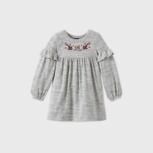 Toddler Girls Cozy Embroidered Long Sleeve Dress Art Class Gray Size 5T