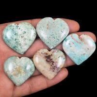 5 Pcs Natural Chrysocolla 30mm-32mm Heart Loose Cabochon Gemstones Wholesale Lot
