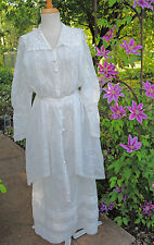 ANTIQUE DRESS VICTORIAN c1910 FANCY SHEER TEA SUMMER GARDEN DAY DRESS GOWN